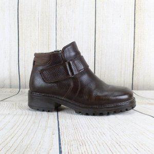 LL BEAN Lined Ankle Boots Leather Side Zip Booties